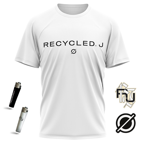 pack camiseta blanca + parches + mecheros de Recycled J