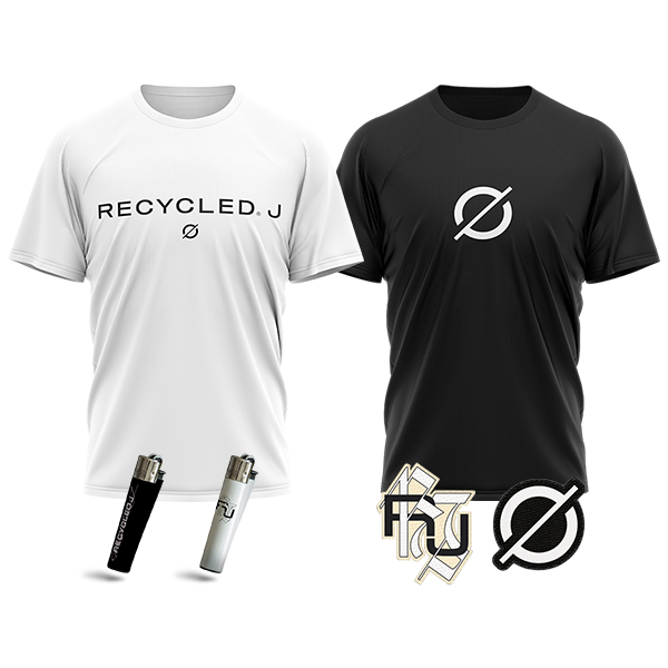 pack camisetas + parches + mecheros de Recycled J